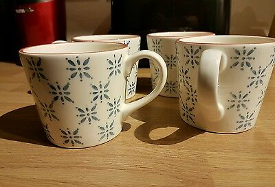 Marks and Spencer white and blue tea cups