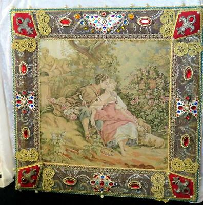 Large Antique French Bejeweled Framed Tapestry