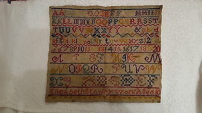 "Elizabeth Stanley Victorian Sampler. Aged 10.Cross stitch on canvas. 11.5"" x 10"""