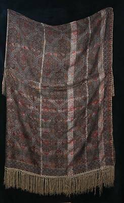 ANTIQUE 19th CENTURY/EARLY 20th PURE SILK LARGE FRINGED PAISLEY SHAWL  (3816)