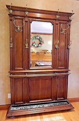 Antique Hall Tree Coat Stand, Brass Hooks Entryway Mirror, Architectural Salvage