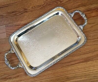 Vintage Academy SilverPlate Silver on Copper Serving Tray w/ Handles Ornate 21""