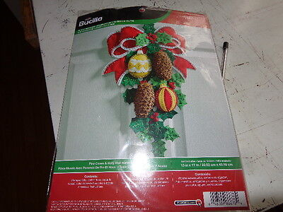 bucilla pine cones and holly wall hanger felt kit 13x17inches
