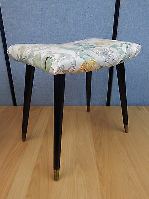 Vintage floral fabric footstool pouffe foot rest stool on brass cap tapered legs
