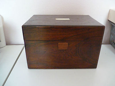 vintage  wooden needle work box with secret drawer