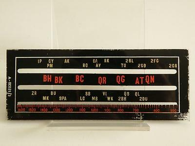 """OLD AUSTRALIAN STATIONS 5 5/8""""x2 1/ 4""""MW VALVE RADIO GLASS TUNING DIAL A-0C021/3"""