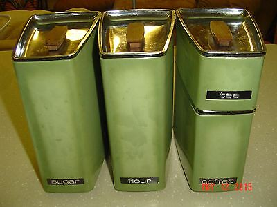 Vintage LINCOLN BEAUTYWARE Flour Sugar Tea Coffee Olive Green Metal Containers