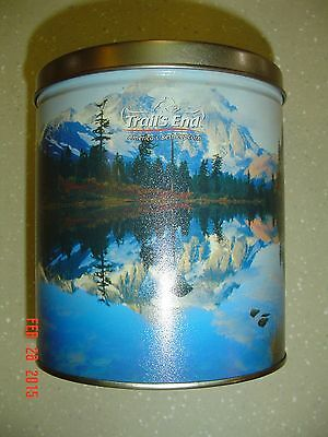 Trail's End America's Best Popcorn Tin Canister Pristine Lake Trees Mountains