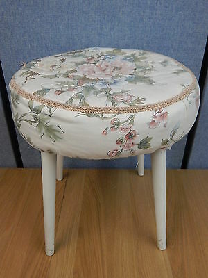 Vintage floral fabric footstool pouffe foot rest stool on 4x white tapered legs
