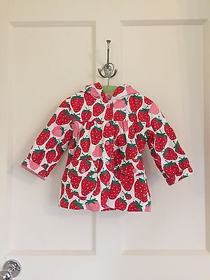 Hatley Girls Strawberry Print Rain Jacket With Hood Age 1 Years