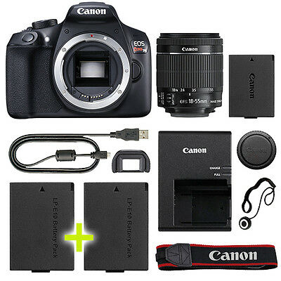 Canon EOS Rebel T6 / 1300D DSLR Camera with 18-55mm IS II Lens+ Backup Power Kit