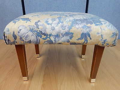 Vintage floral fabric footstool pouffe foot rest stool on 4x square tapered legs