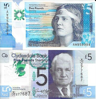 2 Scottish Polymer £5 Pound Notes, Royal Bank of Scotland & Clydesdale Bank