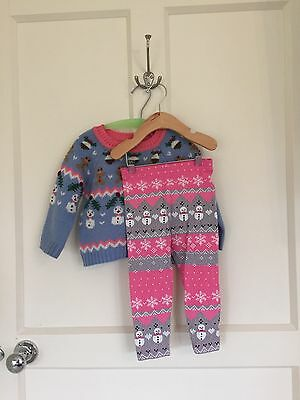 Next Girls Christmas Gingerbread Jumper And Leggings Set Age 18mths To 2 Years