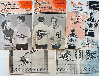 4 x Original Vintage Mary Maxim Picture Knit Graph Style Knitting Patterns