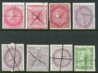 GB 1860 Customs revenue 1d. to £1 short set of eight good to fine used.