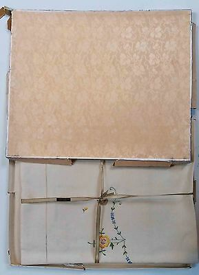 Boxed Vintage Pure Irish Linen, Hand Embroidered Tablecloth, Made in Ireland