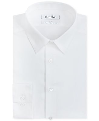 $125 CALVIN KLEIN Men WHITE SOLID SLIM-FIT NON-IRON DRESS CASUAL SHIRT 17 34/35