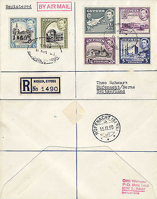 1950 – Cyprus Registered letter sent from Nicosia  to Berne Switzerland