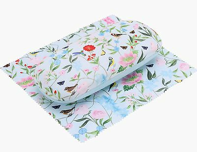 Floral Birds Glasses Hard Case Cleaning Cloth Spectacle Box Protector Vintage