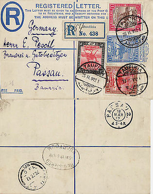 South Sudan 1912  Registered letter from TAUFIKIA to Passau Bavaria Germany.