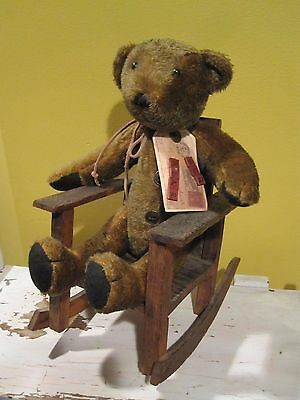 Adorable Vintage Teddy Bear in Old Handmade Rocking Chair