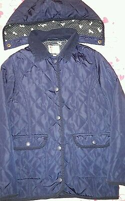 M&S Girls Navy Quilted Jacket Age 9-10