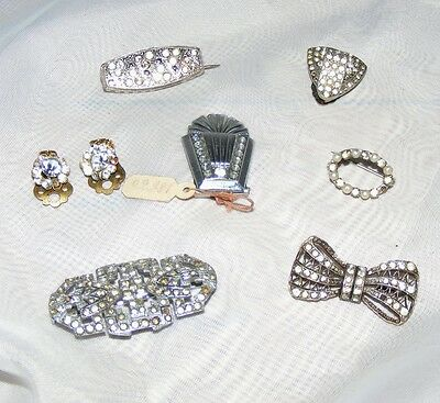 LOT of 7 1930s Vintage Diamonte Brooches Earrings Dress Clip to Restore Crystal