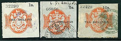 GB 1885 CONSULAR SERVICE revenue first issue 1s to 10s short set fine used