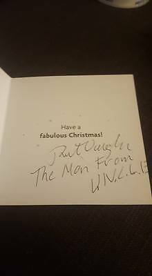 Signed Robert Vaughn Christmas Card Charity Auction Hustle Man Uncle Deceased