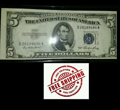 1953 Offset $5 Five Dollar Silver Certificate  clean and gradable..see pics