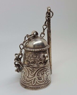 Antique Silver Miniature Pot with Stirrer and Lid