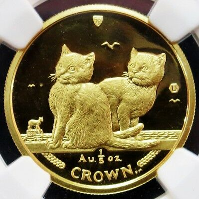 2003 Gold Isle Of Man 1/5 Crown Balinese Kittens Coin Ngc Mint State 67
