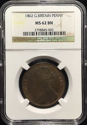 1862 Great Britain Penny ** Ngc Certified Ms 62 Bn