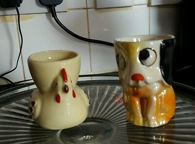 Vintage egg cups - yellow chicken and lustre dog