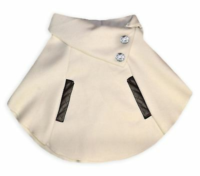 Girls Winter Faux Leather Trim Cape New Kids Wrap Poncho Coat Ages 3-11 Years