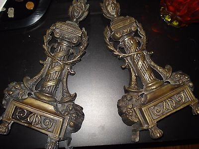 Beautiful Brass Fireplace Andirons King Louis!