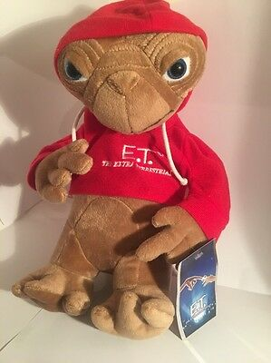 12 Inch ' ET ' The Extra Terrestrial Soft Plush Toy With Red Hoodie  Universal