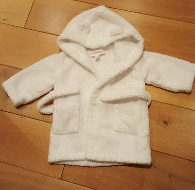 The Little White Company White Dressing Towelling Gown Immaculate 6-12 months