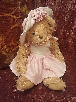 Louise Mansen Teddy Bear in White & Pink Dress with Hat