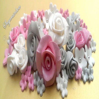 Edible sugar roses flowers cake cupcake toppers decoration Hot pink/silver/White
