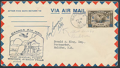 1933 AAMC #3309d Wadhope to Great Falls Flight Cover, Pilot Signed