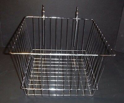"Vintage~Chrome Wire~Locker Basket~Peg Hook~12""L x 12""W x 8"" H~Garage~Organize"