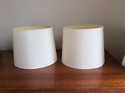 2 x large white/offwhite drum lamp shades