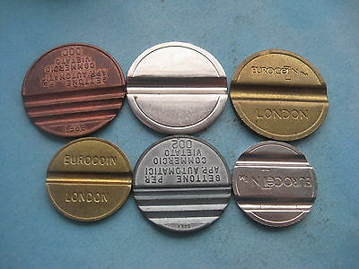 6 X Different Telephone, Brev  & Amusment  Gold & Silver Coloured Tokens Coins
