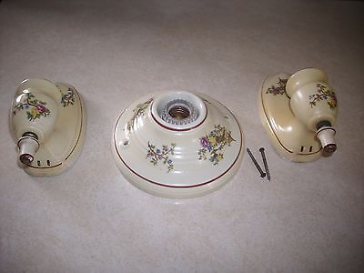 Pair of Vintage  Porcelin Wall  Scounces and matching ceiling light fixture