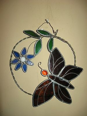 """Stained Glass Butterfly & Flower Sun Catcher/Hanging 8 3/4"""" x6.5"""""""