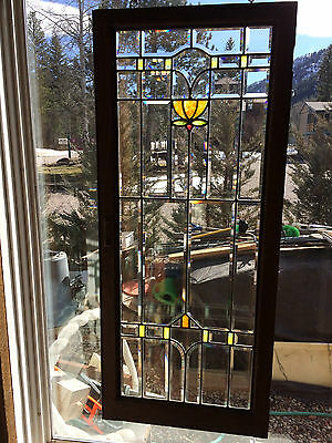 Vtg Arts & Crafts Movement Beveled & Stained Glass Window - Colorado Bungalow #2