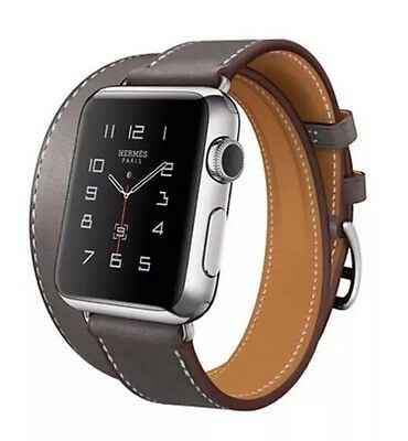 Apple Watch Double Tour Strap For iWatch 42mm Étain Grey Hermès Style