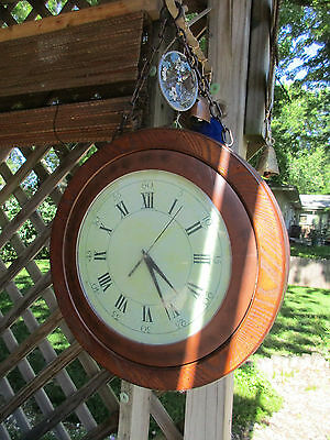 Double-Sided Clock Hangs by Chain Antique Style Wood Metal Case Battery Op Works